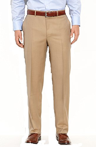 canali-tan-solid-100-wool-made-in-italy-flat-front-new-mens-dress-pants-46w-us-56w-eur