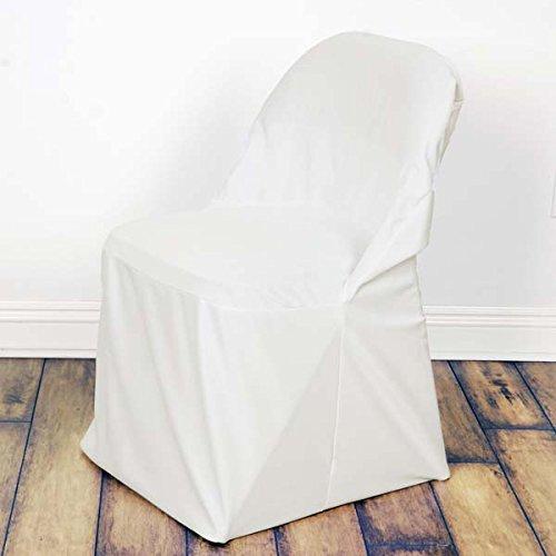 Efavormart リネン ポリエステル ラージ/オーバーサイズ 折りたたみ椅子カバー ダイニングチェアカバー 100枚  アイボリー B07GJ63QLM