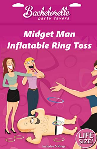 IntiMD Midget Man Ring Toss Bachelorette Party Game with 6 Hilarious Lipsticks Fun Gag Idea, Gift Ideas for Hen & Bachelorette Parties, Girls Night Out, Bridal Shower