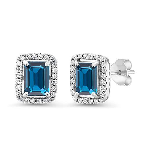 - Gem Stone King 925 Sterling Silver London Blue Topaz Earrings (4.45 Cttw, Gemstone Birthstone, 8X6MM Emerald Cut)