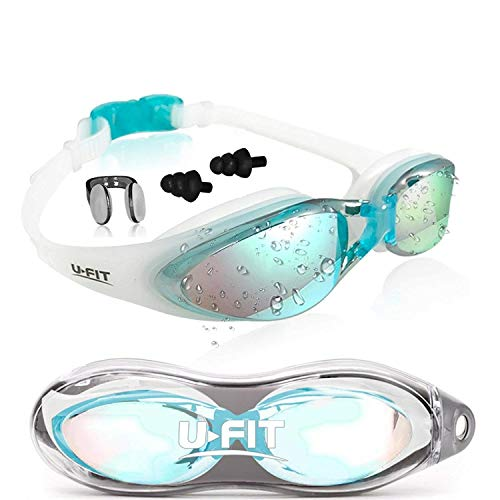 Swim Goggles | Swimming Goggles For Men Women Adults - Best Non Leaking Anti-Fog UV Protection Clear Vision - Free Goggle Case Nose and Ear Plugs | U-FIT