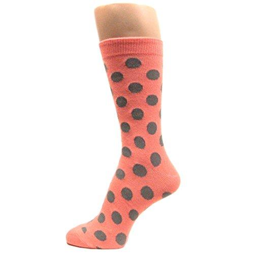 Spotlight Hosiery Men's Groomsmen Wedding Polka Dots Dress Socks-Peach/Gray]()