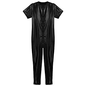 Tiaobug Mens Stretchy Faux Leather Short Sleeves Zipper Crotch Full Body Leotard Black Large