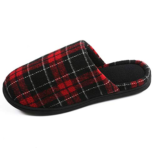 RockDove Women's Plaid Scuff with Memory Foam, Size 9-10 US Women, Red