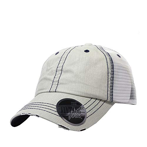 The Vintage Year Washed Cotton Low Profile Mesh Adjustable Trucker Baseball Cap (Distressed Putty)
