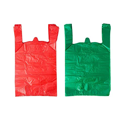 LazyMe 12 x 20 inch Plastic Thick Green T Shirt Bags, Handle Shopping Bags, Multi-Use Large Size Merchandise Bags, Red Plain Grocery Bags, Durable, 12 x 20inch, 100 pcs (100,Green, Red)