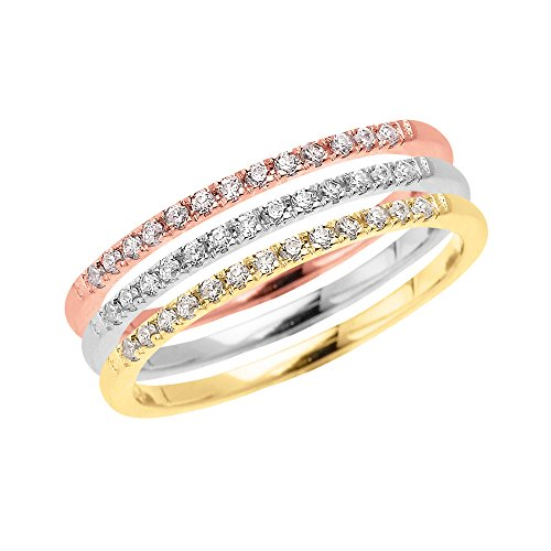 (Tri Color Gold Elegant Diamond Stackable Rings (Size 4.5))