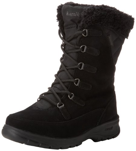 Kamik Women s Boston Snow Boot,Black,7 M US