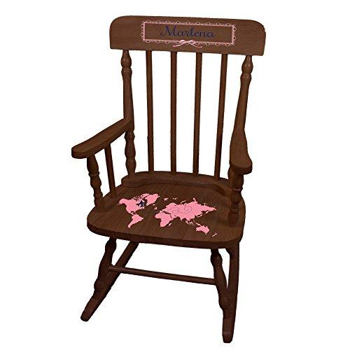 MyBambino Personalized World Map pink Espresso Childrens Rocking Chair by MyBambino