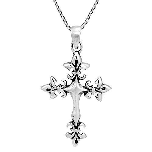 AeraVida Avant Garde Fleur-de-Lis Cross .925 Sterling Silver Pendant Necklace ()