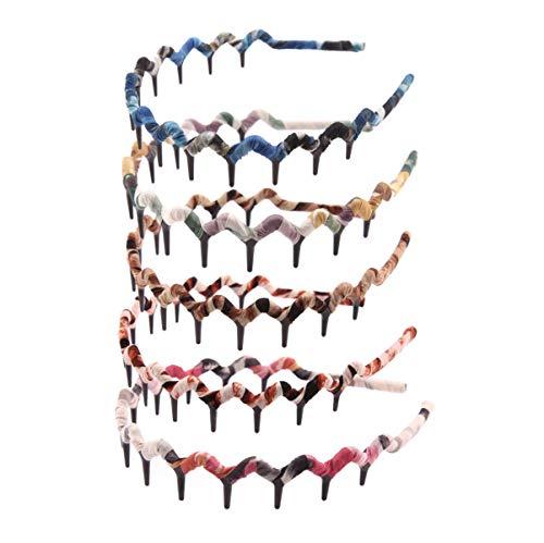 Numblartd 5 Pcs Leopard Print Wrapping Toothed Wavy Headband Zigzag Comb Hair Band - Women Fashion Hair Hoop Hairband Hair Accessory (Color Random) (Headband Hair Combs)