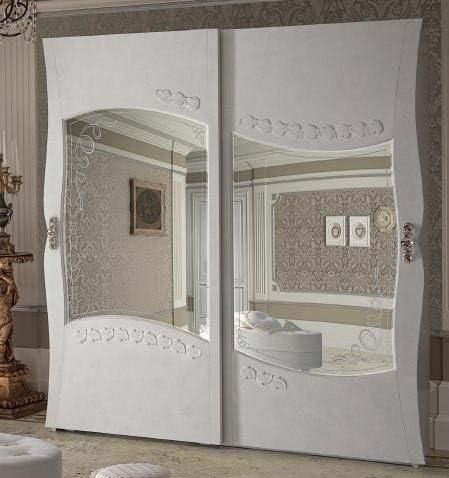dafnedesign. com – Armario 2 puertas correderas cristal, con cajonera interior, masilla Florentino Marfil, H. 220 x