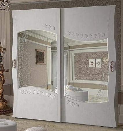 dafnedesign. com – Armario 2 puertas correderas cristal, con cajonera interior, masilla Florentino Marfil, H. 220 x P. 67 x L. 190, 150 kg, 1.40 MC/M³, N. Colli 7. Madera 100% natural,