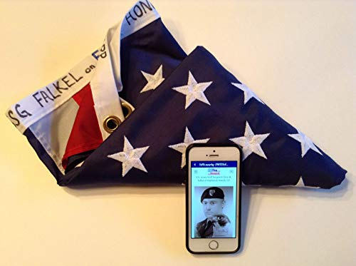 Interactive American Flag 3X5 Durable Nylon, Embroidered US Flag Inscribed with and Transmits GWOT Fallen Military Tribute, Daily Flag Status, Historical Reminder and more via Flag Steward App