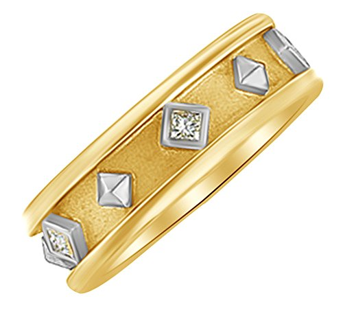 Squaqre Shape White Natural Diamond Etruscan Band Ring In 14k Yellow Gold (0.17 cttw) Ring Size-9 - Etruscan Yellow Ring