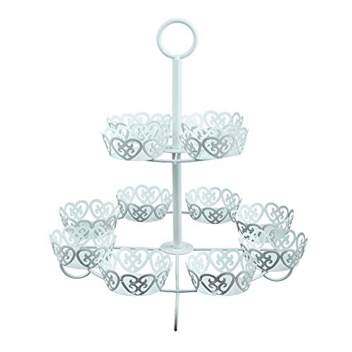 Cake Stand 2 Tier Iron Round Cupcake Holder Dessert Rack Fruit Plate for Wedding Home Birthday Party Serving Platter ()