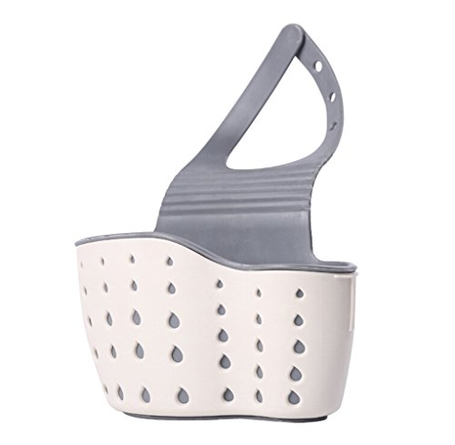 Hot ! ღ Ninasill ღ Kitchen Utensils Sink Drain Hanging Basket Sink Rack soap Sponge Rack Kitchen Suction Cup Storage Tool (Beige)