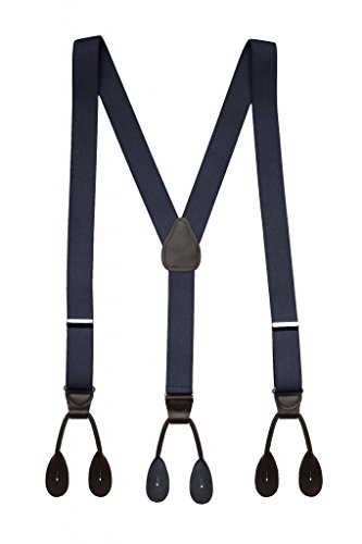 Hold'Em Suspender for Men Made in USA Y-Back Leather Trimmed button end tuxedo suspenders Many colors and designs - Navy (Regular 46