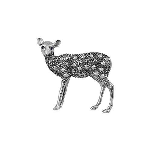 (Gemondo Marcasite Brooch, Sterling Silver Sapphire & Marcasite Deer Brooch)