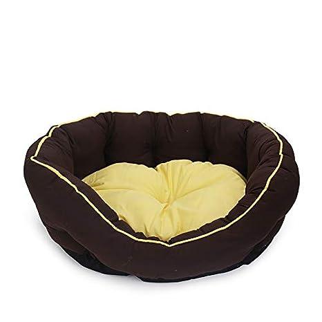 COL PETTI Perrera Pet Mat Perro Y Gato Cama Felpa Amarillo Marrón Monocromo Paño Rayado Ronda,Brown: Amazon.es: Hogar
