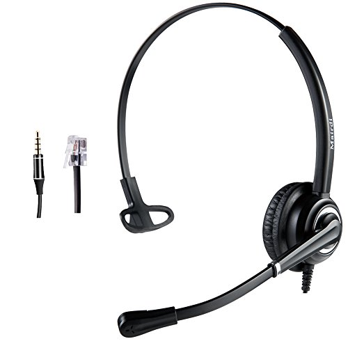 Cisco Headset Telephone Headset RJ9 with Noise Cancelling Microphone Jabra Compatible Plus Extra 3.5mm - Speaker Nec Phone