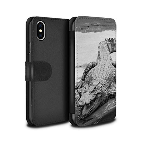 eSwish PU Leather Wallet Flip Case/Cover for Apple iPhone Xs Max/Crocodile Design/Mono Zoo Animals Collection