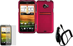 Rose Pink Hard Case Cover+LCD Screen Protector+Car Charger for HTC Evo 4G LTE