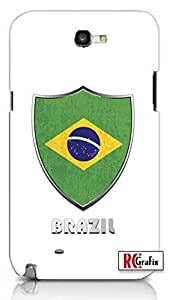 Premium Brazil Flag Badge Direct UV Printed Unique Quality Hard Snap On Case for Samsung Galaxy Note 2 Note II N7100 (WHITE)
