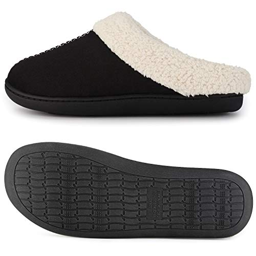 Slip Micro Black Slippers Clog on ULTRAIDEAS Women's House Suede qHw58fTI