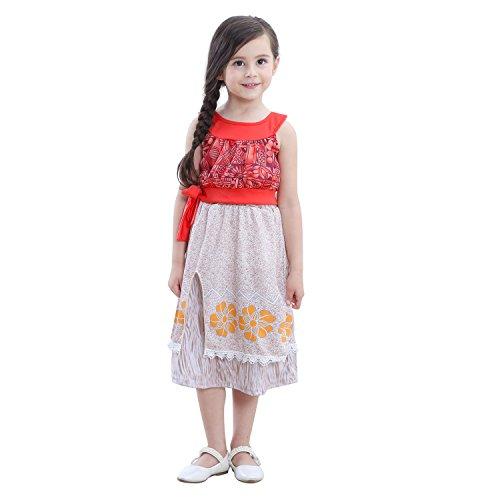 Vinyl Record Halloween Costume (Moana Adventure Outfit Halloween Cosplay Princess Costume Skirt Girls Dress Up)