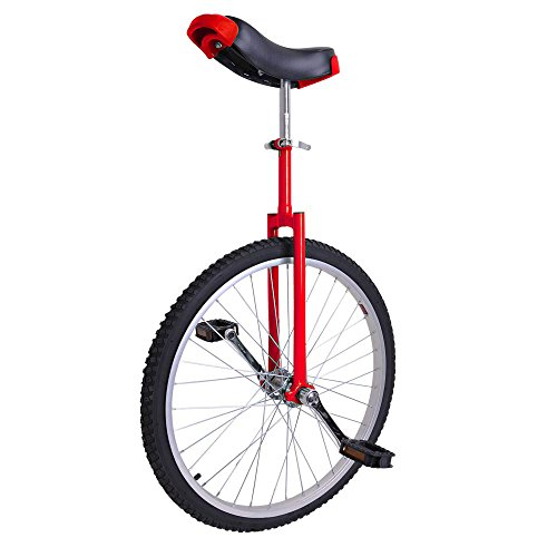 24'' Inch Tire Chrome Unicycle Wheel Training Style Cycling w/ Stand Release Saddel Seat Balance Mountain Exercise Bike - Red by Generic