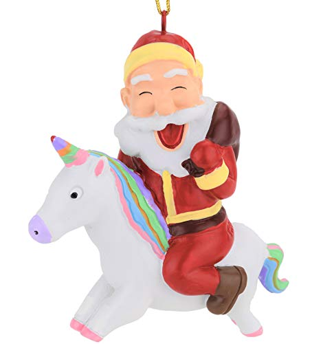 Tree Buddees Santa Riding A Unicorn Christmas Ornament (Ornament Christmas Tacky)