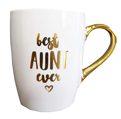Mothers Day Gifts for Aunt Best Aunt Ever Inspirational Ideas Gifts for Auntie Sister Mom Women Christmas Birthday Gift Ceramic Coffee Mug Tea Cup With Gold Handle 16 fl oz by Mon Trésor Decor