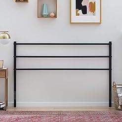 Bedroom Linenspa ModernMetal Steel Construction–Horizontal Bar Design Headboard, California King, Black farmhouse headboards
