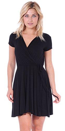Popana Women's Casual Summer Dress Midi Swing Faux Wrap Sundress Made in USA Black (Jersey Surplice Dress)