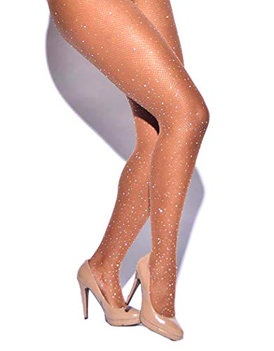 Women's Fishnet Stockings Sparkle Glitter Rhinestone Pantyhose Tights One Size (One Size, Brown)