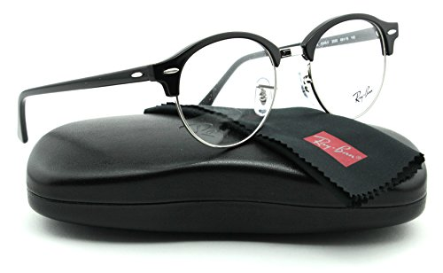Ray-Ban RX4246V ClubRound Unisex Eyeglasses (Shiny Black Frame 2000, - Clubround Ban Optics Ray
