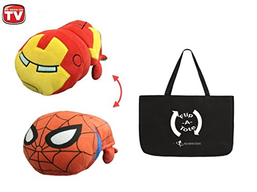 14 inch Flipazoo Disney, Iron Man to Spiderman w/ Flipatote - Flip-a-zoo 2-in-1 Toy that Flips for You (Spiderman/Iron man) (Flip A Zoo As Seen On Tv)