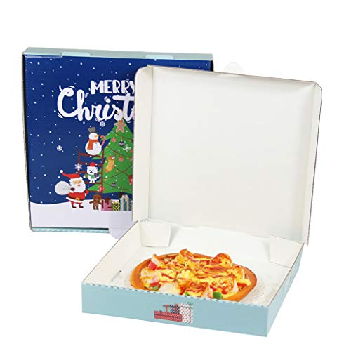 10 Pack 9inch 10inch Christmas Pizza Boxes Take Out Containers Packing Boxes (10 x 10 inch)