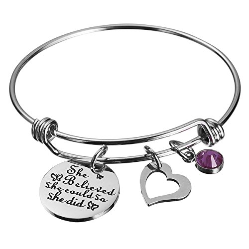 Mirror Heart Bracelet - Haoflower She Believed She Could So She Did Inspirational Bracelet Birthstone and Heart Charm Cuff Bangle Birthday Graduation Gifts
