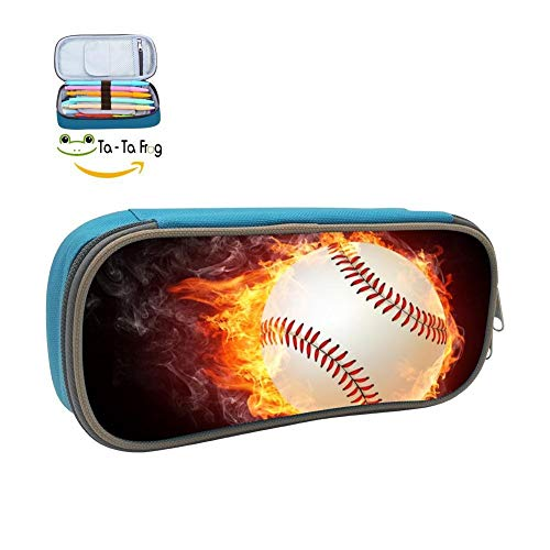 Kid Pencil Case Unique Baseball Fire Ball School Pen Bag Stationary Wearable Pouch for Student Makeup Cosmetic Bag -