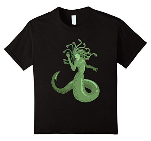 Kids Medusa Costumes - Kids A Green Medusa Like Snake Hair Woman Monster T-Shirt 8 Black