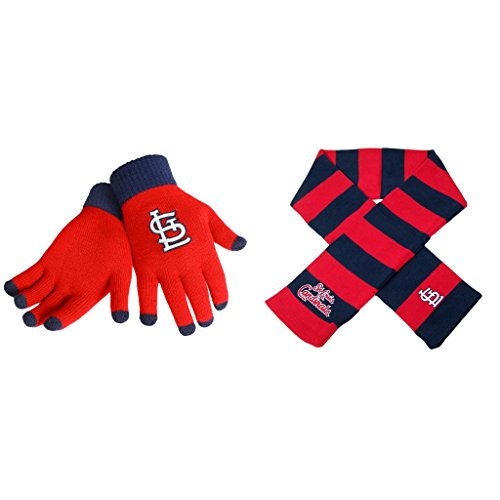 MLB St. Louis Cardinals Glove Solid Knit And Striped Rugby Scarf 2 Pack Bundle