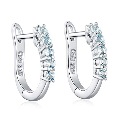 Natural Aquamarine Hoop Earrings 925 Sterling Silver Fine Gemstone Elegant Jewelry March Birthday Best Gift for Women New]()