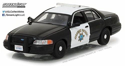 2008 Ford Crown Victoria Police Interceptor Car California Highway Patrol, Black w/White - Greenlight 86086 - 1/43 Scale Diecast Model Toy Car