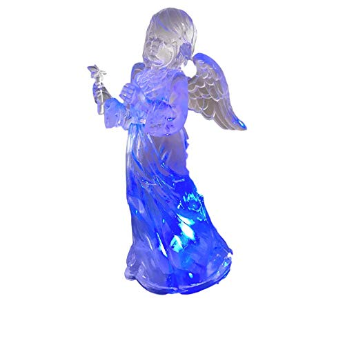 Angel Holding Star Figurine - BANBERRY DESIGNS Light Up Christmas Angel - LED Color Changing Lights Acrylic Angel Statue Holding a Star - Angel Figurines