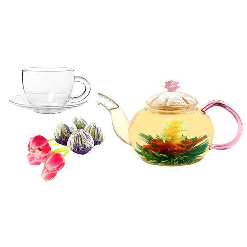 OKSLO Juliet 0.63-qt. jasmine fab flowering teapot set