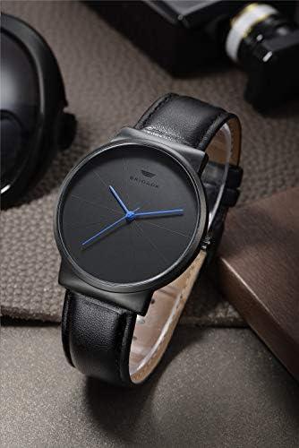 Mens Watches Minimalist Black Business Casual Waterproof Quartz Watches for Men Swiss Brand WeeklyReviewer