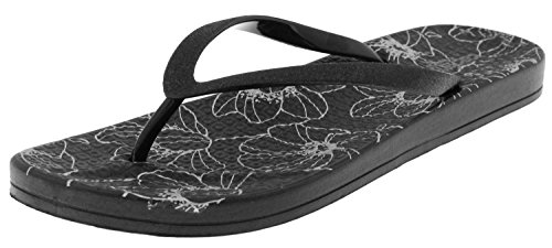 Capelli New York Ladies Fashion Flip Flops With Gem and Rhinestone Trim Black NHJewG7J