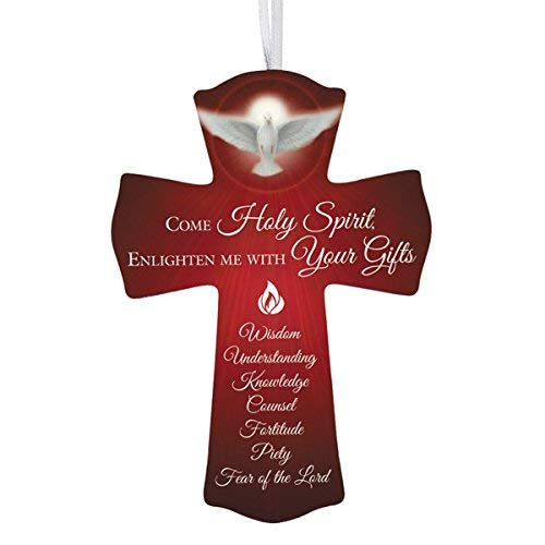 Confirmation Cross Come Holy Spirit Wooden with Ribbon Hanger, 6 Inch